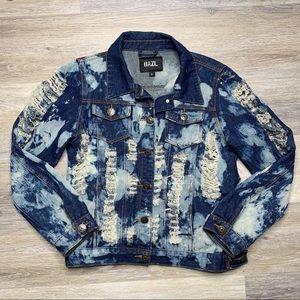 """Slay"" Distressed Acid Wash Denim Jacket | XL"